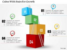 Cubes With Stairs For Growth Powerpoint Template