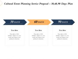 Cultural Event Planning Service Proposal 30 60 90 Days Plan Ppt Powerpoint File Slides
