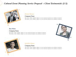 Cultural Event Planning Service Proposal Client Testimonials L2225 Ppt Powerpoint Icon