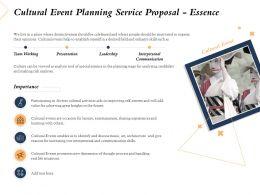 Cultural Event Planning Service Proposal Essence Ppt Powerpoint Presentation Outline