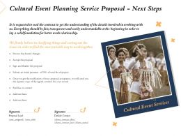 Cultural Event Planning Service Proposal Next Steps Ppt Powerpoint Presentation Icon