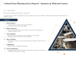 Cultural Event Planning Service Proposal Statement Of Work And Contract Ppt Download