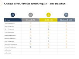 Cultural Event Planning Service Proposal Your Investment Ppt Powerpoint Files