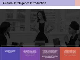 Cultural Intelligence Introduction Our Team Communication