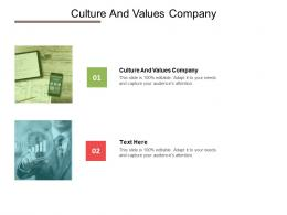 Culture And Values Company Ppt Powerpoint Presentation Pictures Sample Cpb