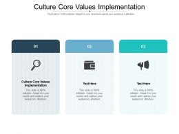 Culture Core Values Implementation Ppt Powerpoint Presentation Icon Deck Cpb