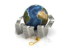 Currencies Around The Globe Concept Stock Photo