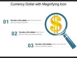 Currency Dollar With Magnifying Icon Ppt Example 2018