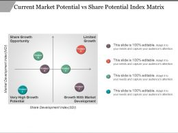Current Market Potential Vs Share Potential Index Matrix Ppt Icon