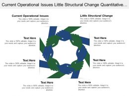 Current Operational Issues Little Structural Change Quantitative Analysis