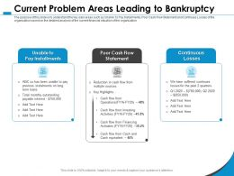 Current Problem Areas Leading To Bankruptcy For Losses Ppt Powerpoint Presentation Portfolio Guide