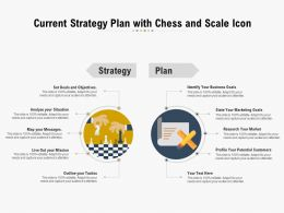 Current Strategy Plan With Chess And Scale Icon