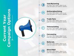 Current Year Campaign Options Tele Marketing Ppt Powerpoint Presentation Portfolio Graphics Design