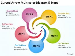 Curved Arrow Multicolor Diagram 5 Steps Ppt Powerpoint Slides