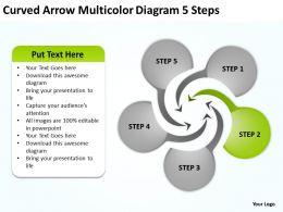 Curved Arrow Multicolor Diagram 5 Steps Ppt Powerpoint Slides