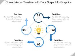 Curved Arrow Timeline With Four Steps Info Graphics