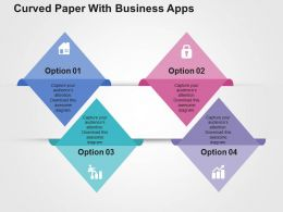 Curved Paper With Business Apps Flat Powerpoint Design