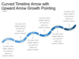 Curved Timeline Arrow With Upward Arrow Growth Pointing