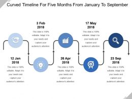 Curved Timeline For Five Months From January To September