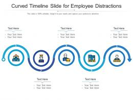 Curved Timeline Slide For Employee Distractions Infographic Template