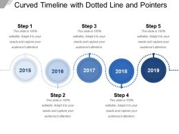 Curved Timeline With Dotted Line And Pointers