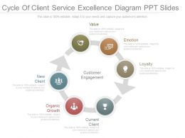 Custom Cycle Of Client Service Excellence Diagram Ppt Slides