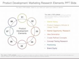 Custom Product Development Marketing Research Elements Ppt Slide