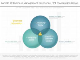 Custom Sample Of Business Management Experience Ppt Presentation Slides