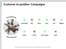 Customer Acquisition Campaigns Slide Offline Marketing Ppt Powerpoint Presentation Diagram Images
