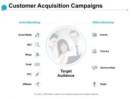 Customer Acquisition Campaigns Target Audience Affiliates Ppt Powerpoint Presentation Slides Pictures
