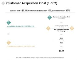 Customer Acquisition Cost Percentage Ppt Powerpoint Presentation Pictures Icon