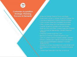 Customer Acquisition Strategic Planning Process And Elements Communication Ppt Slides