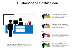 Customer And Cashier Icon Sample Of Ppt