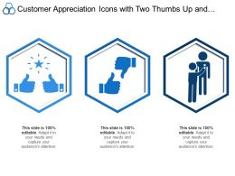 Customer Appreciation Icons With Two Thumbs Up And Rewarding