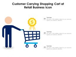 Customer Carrying Shopping Cart At Retail Business Icon