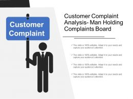 Customer Complaint Analysis Man Holding Complaints Board