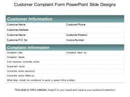 Customer Complaint Form Powerpoint Slide Designs