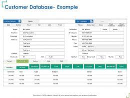 Customer Database Example Postcode Ppt Powerpoint Presentation Infographics Graphics Example