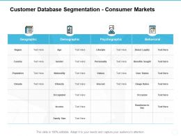Customer Database Segmentation Consumer Markets Geographic Ppt Powerpoint Presentation