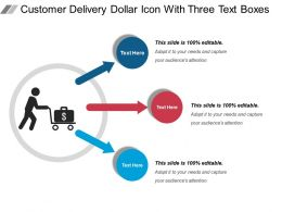 Customer Delivery Dollar Icon With Three Text Boxes