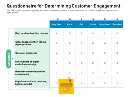 Customer Engagement On Online Platform Questionnaire For Determining Customer Engagement Ppt File