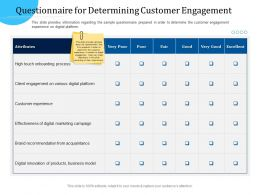 Customer Engagement Optimization Questionnaire For Determining Customer Engagement