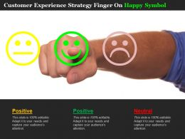 Customer Experience Strategy Finger On Happy Symbol