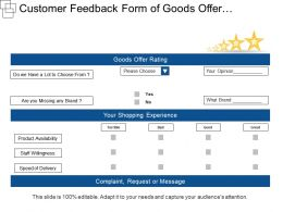 Customer Feedback Form Of Goods Offer And Shopping Experience