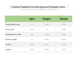 Customer Feedback Form With Agree And Disagree Column