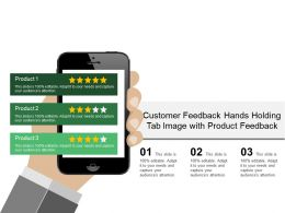 Customer Feedback Hands Holding Tab Image With Product Feedback