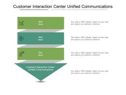 Customer Interaction Center Unified Communications Ppt Powerpoint Presentation Styles File Formats Cpb