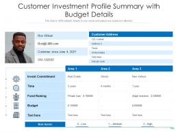 Customer Investment Profile Summary With Budget Details