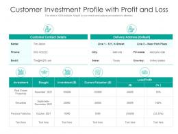 Customer Investment Profile With Profit And Loss