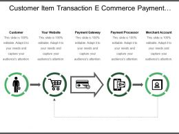 Customer Item Transaction E Commerce Payment Steps With Arrows And Icons
